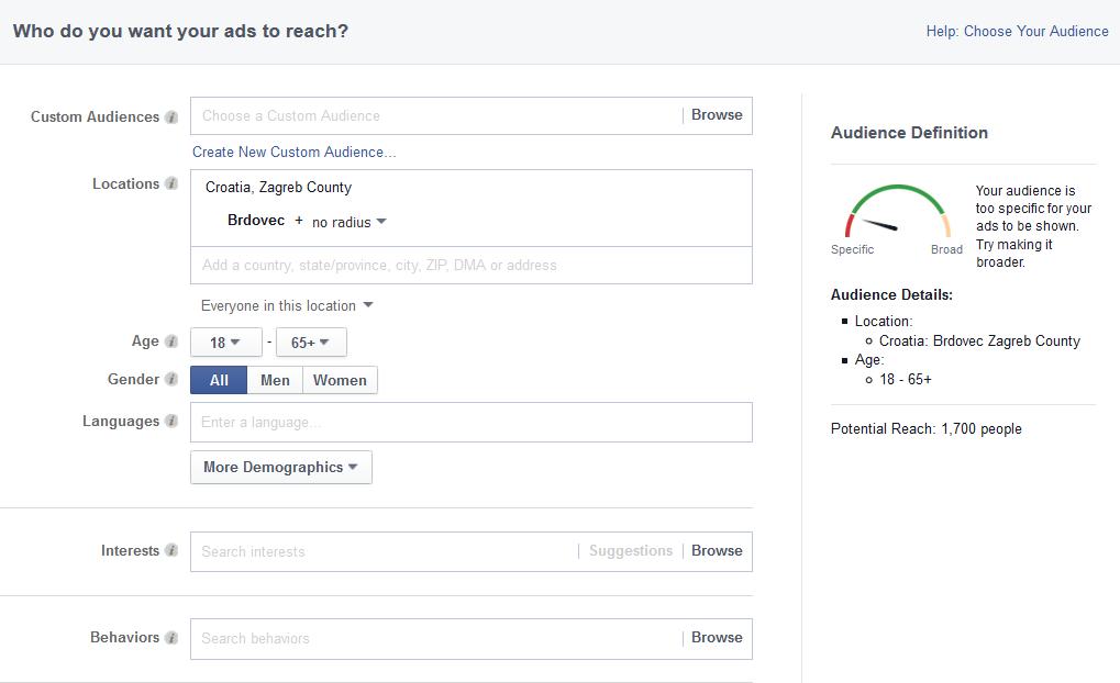 Facebook geolokacijsko targetiranje