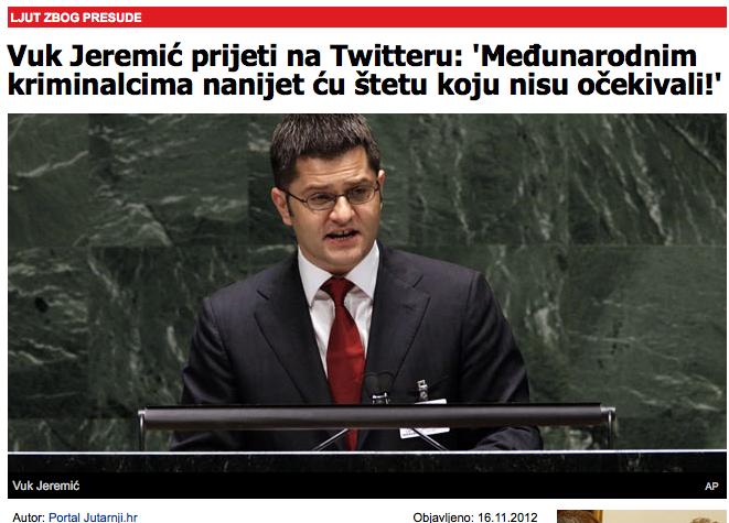 Portal Jutarnji.hr: Vuk Jeremić prijeti na Twitteru: 'Međunarodnim kriminalcima nanijet ću štetu koju nisu očekivali!'