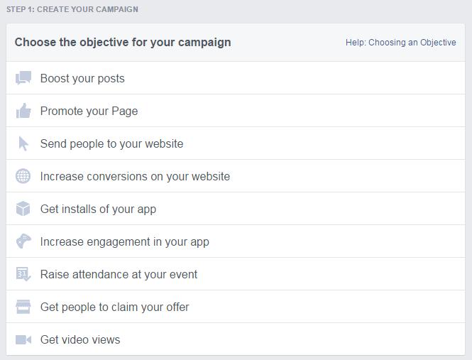Izbornik za kreiranje kampanje i odabir vrste oglasa.