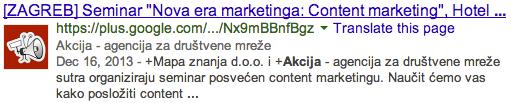 Objava s Google+ stranice unutar rezultata pretraživanja