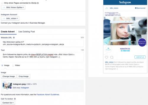 Postupak kreiranja oglasa - slično kao i za Facebook