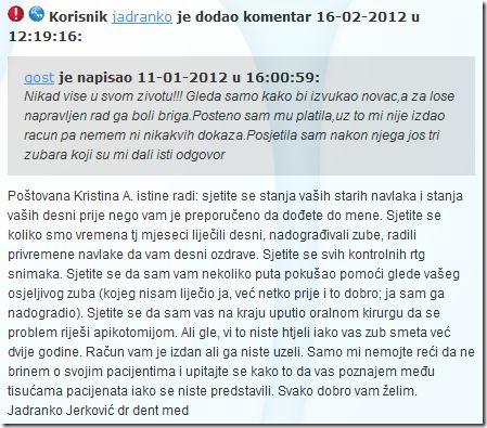Odgovor na komentar Jadranko Jerković