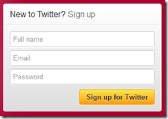 Twitter signup